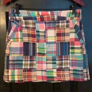 J. Crew madras plaid mini skirt size 2